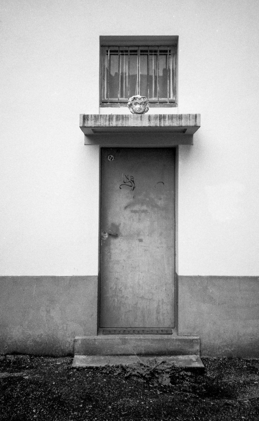 The head on the door.